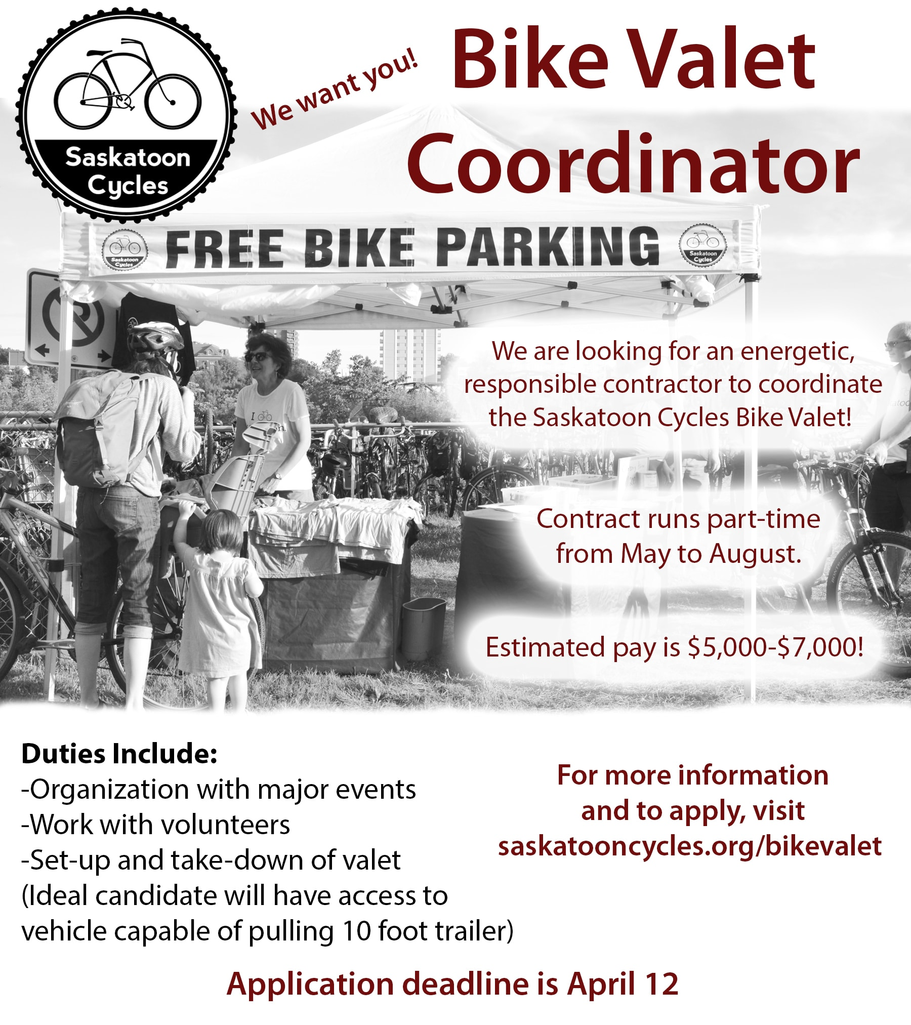 Apply to be the new bike valet coordinator