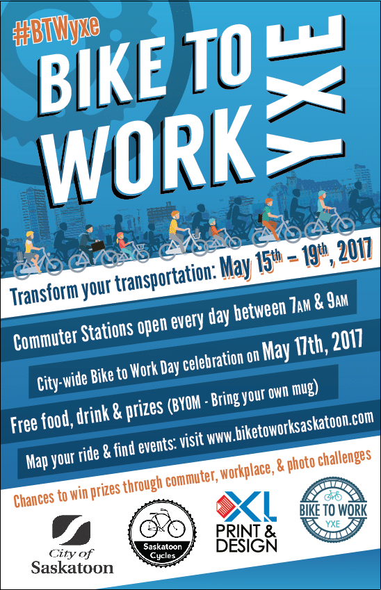 Get ready to transform your transportation during Bike to Work YXE: May 15 – 19th!